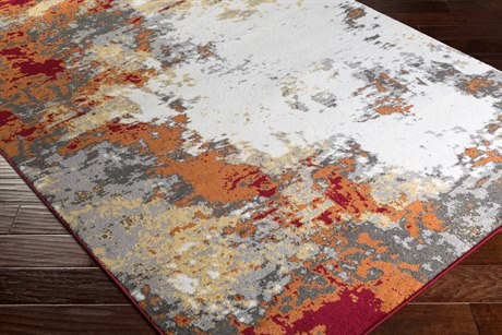 Surya Pepin Rectangular Charcoal, Burnt Orange & Dark Red Area Rug SYPEI1013REC