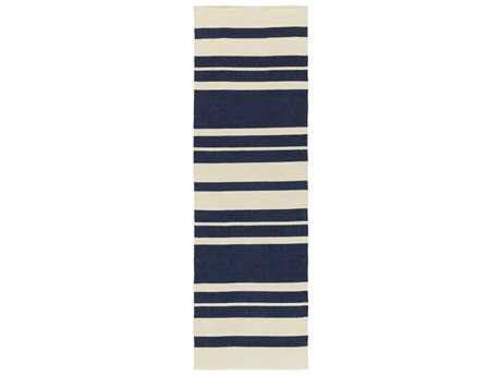 Surya Picnic 2'6'' x 8' Rectangular Navy & Cream Runner Rug