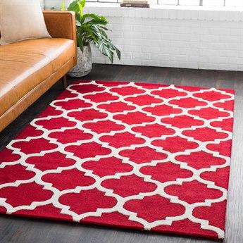 Surya Pollack Bright Red / Cream Rectangular Area Rug