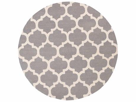 Surya Pollack Medium Gray / Cream Round Area Rug