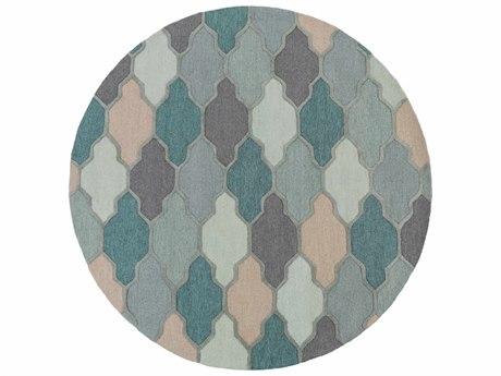 Surya Pollack Medium Gray / Charcoal Sage Teal Sea Foam Taupe Round Area Rug