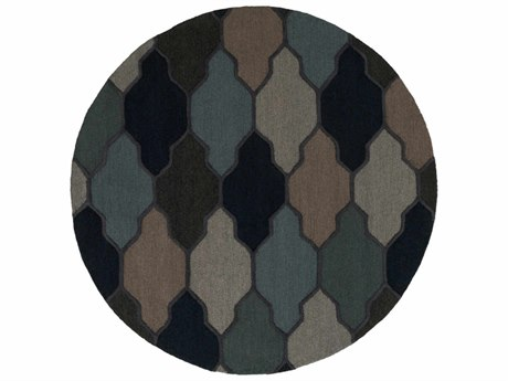 Surya Pollack Navy / Charcoal Taupe Light Gray Aqua Round Area Rug