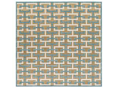 Surya Portera 7'6'' Square Aqua, Light Gray & Tan Area Rug