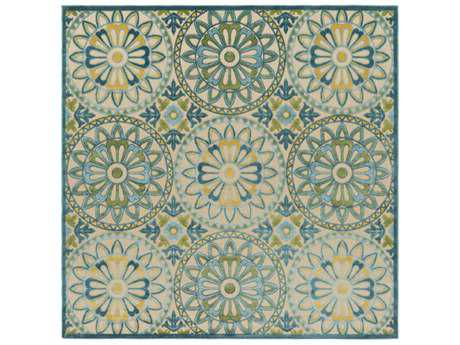 Surya Portera 7'6'' Square Teal, Navy & Dark Green Area Rug