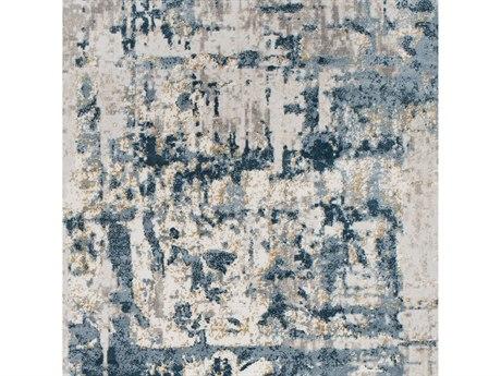 Surya Quatro Denim / Dark Blue Medium Gray Beige Tan White Square Sample