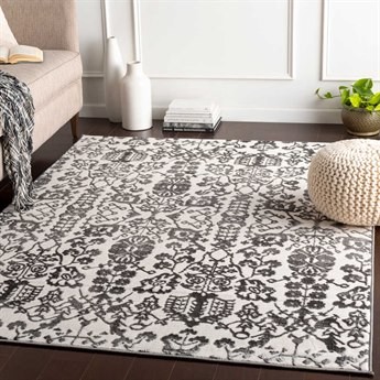 Surya Rabat Medium Gray / Charcoal White Rectangular Area Rug