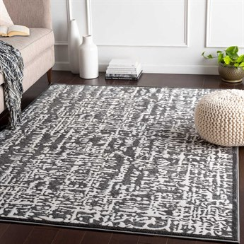Surya Rabat Charcoal / Medium Gray White Rectangular Area Rug