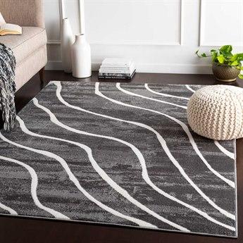 Surya Rabat Charcoal / Medium Gray White Rectangular Area Rug