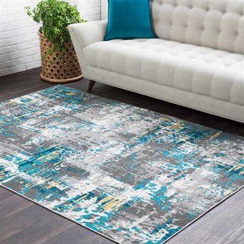 Surya Rafetus Teal / Medium Gray Charcoal Butter White Rectangular Area Rug