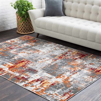 Surya Rafetus Burnt Orange / Dark Red Butter Medium Gray Charcoal White Rectangular Area Rug