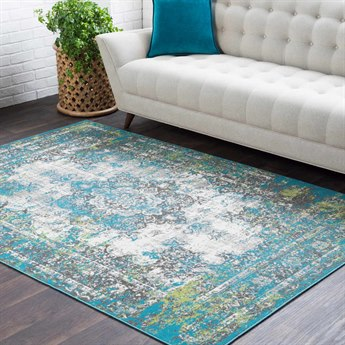 Surya Rafetus Teal / Charcoal Medium Gray Lime White Rectangular Area Rug