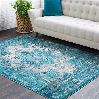 Surya Rafetus Teal / Medium Gray Charcoal White Rectangular Area Rug