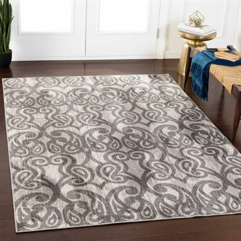 Surya Rafetus Medium Gray / Charcoal White Rectangular Area Rug