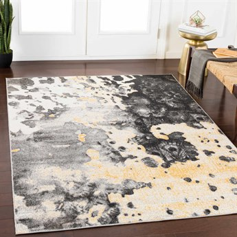 Surya Rafetus Butter / Black Charcoal Medium Gray White Rectangular Area Rug