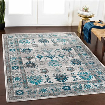 Surya Rafetus Teal / Medium Gray Charcoal Black White Rectangular Area Rug