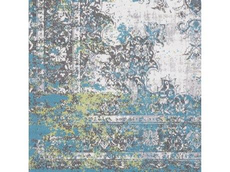 Surya Rafetus Teal / Charcoal Medium Gray Lime White Square Sample