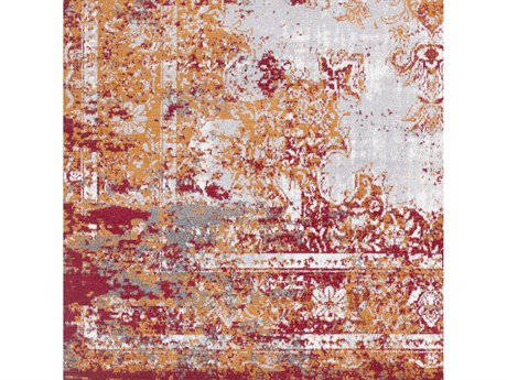 Surya Rafetus Burnt Orange / Dark Red Medium Gray White Square Sample