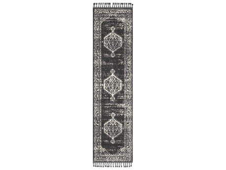 Surya Restoration Charcoal / Black Cream Light Gray Medium Runner Area Rug