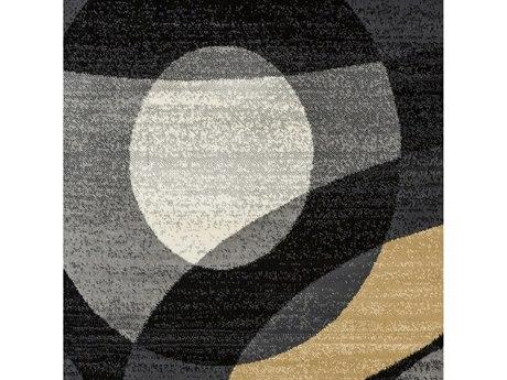 Surya Riley Medium Gray / Charcoal Beige Tan Black White Square Sample