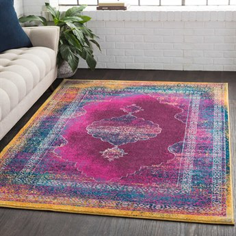 Surya Rio Bright Pink / Dark Purple White Aqua Blue Saffron Yellow Rectangular Area Rug