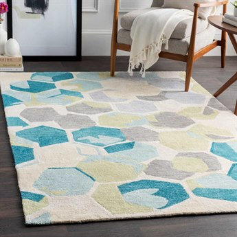Surya Rivera Teal / Cream Khaki Olive Medium Gray Rectangular Area Rug