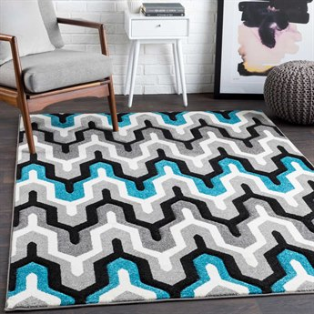 Surya Santa Monica Teal / Charcoal Black Medium Gray White Rectangular Area Rug