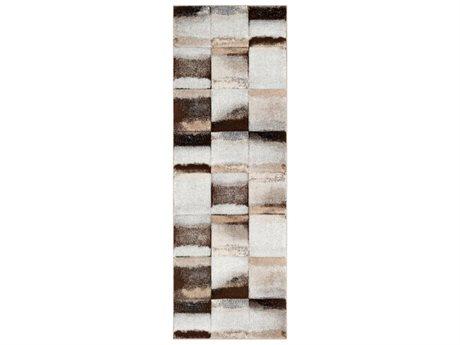 Surya Santa Monica Dark Brown / Medium Gray White Beige Black Runner Area Rug