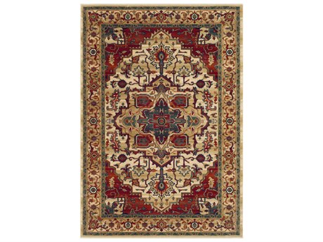 Surya Sedra Dark Red / Green Burnt Orange Tan Cream Navy Rectangular Area Rug