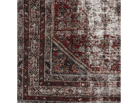 Surya Serapi Medium Gray / Black White Dark Red Tan Square Sample