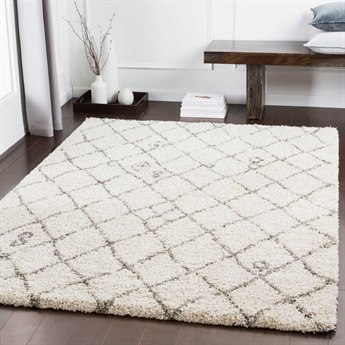 Surya Serengeti Shag Taupe / Khaki White Dark Brown Rectangular Area Rug