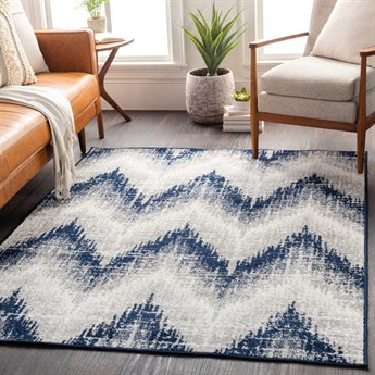 Surya Seville Dark Blue / Medium Gray White Rectangular Area Rug