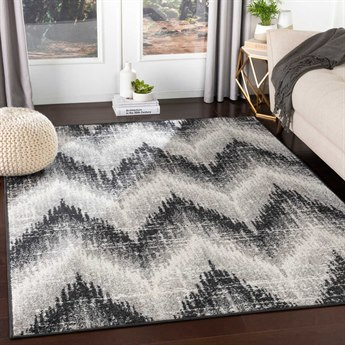 Surya Seville Black / Medium Gray White Rectangular Area Rug