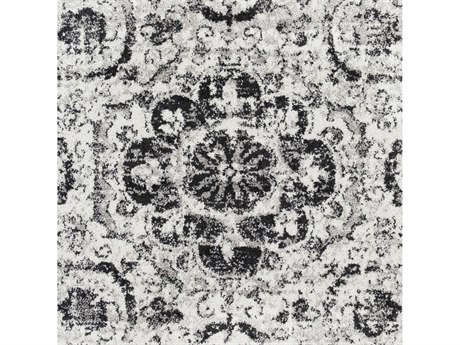 Surya Seville Medium Gray / Black White Square Sample