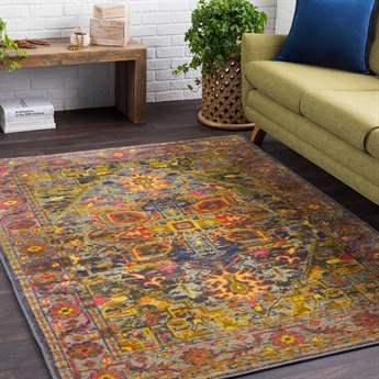 Surya Silk Road Lime / Bright Yellow Pink White Medium Gray Blue Red Orange Olive Black Rectangular Area Rug