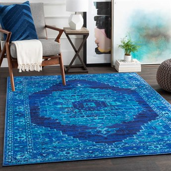 Surya Silk Road Bright Blue / Sea Foam Dark Black Rectangular Area Rug