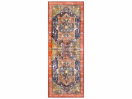 Surya Silk Road Coral / Bright Orange Dark Blue Medium Gray Lime Olive White Red Black Lilac Runner Area Rug