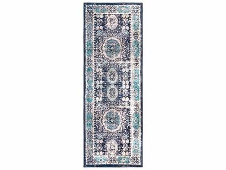 Surya Silk Road Bright Blue / Black White Medium Gray Dark Green Aqua Runner Area Rug