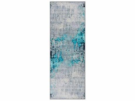 Surya Silk Road Sea Foam / Bright Blue White Medium Gray Black Runner Area Rug