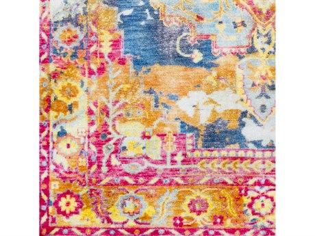 Surya Silk Road Bright Pink / Red Blue Aqua Sea Foam Medium Gray Orange Saffron Square Sample