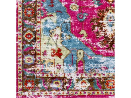 Surya Silk Road Bright Pink / Lilac Red Aqua Yellow White Lime Olive Emerald Dark Brown Square Sample