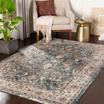 Surya Soft Touch Teal / White / Camel / Taupe Rectangular Area Rug