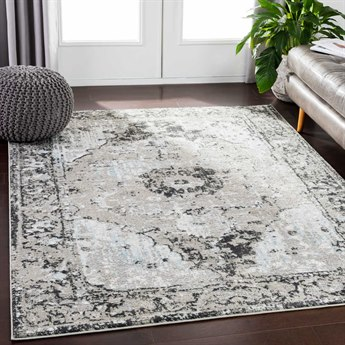 Surya Soleil Medium Gray / Taupe Camel Black White Pale Blue Rectangular Area Rug