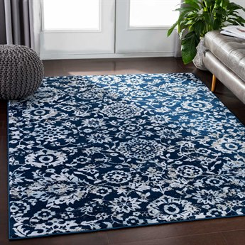 Surya Soleil Navy / White Medium Gray Taupe Camel Pale Blue Rectangular Area Rug
