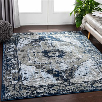 Surya Soleil Navy / Medium Gray Taupe White Pale Blue Light Rectangular Area Rug
