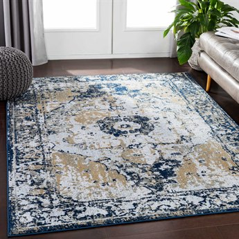 Surya Soleil Navy / Medium Gray Taupe Wheat Pale Blue Light Rectangular Area Rug