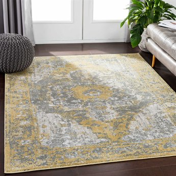 Surya Soleil Bright Yellow / Medium Gray White Camel Tan Rectangular Area Rug