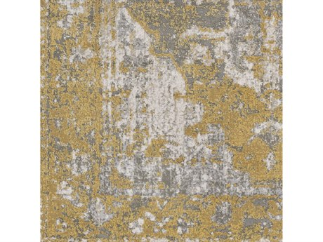 Surya Soleil Bright Yellow / Medium Gray White Camel Tan Square Sample