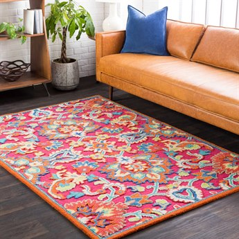 Surya Technicolor Bright Pink / Coral Denim Lime Butter Ivory Rectangular Area Rug