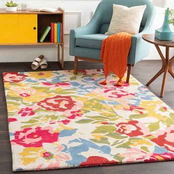 Surya Technicolor Pale Pink / Bright Cream Denim Grass Green Dark Saffron Rust Rectangular Area Rug