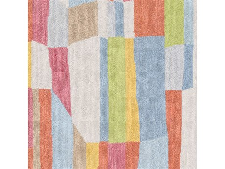 Surya Technicolor Denim / Light Gray Rose Coral Ivory Lime Saffron Square Sample